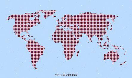 Mapa del mundo pixelado rojo