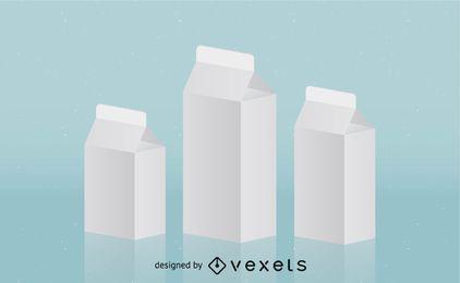 Plantilla de paquete de leche 3D