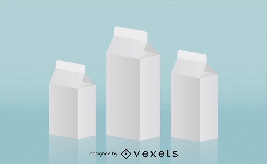 3D Milk Packet Template