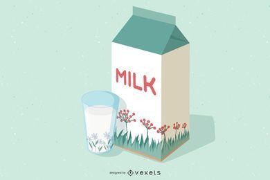 Pacote de leite 3D com design floral