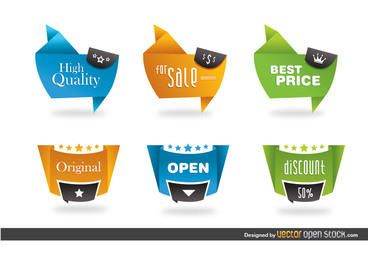 Etiquetas modernas de estilo origami