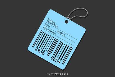 Etiqueta de preço com código de barras azul