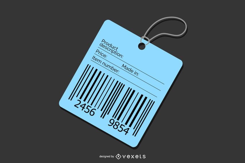 Blue Barcode Price Tag