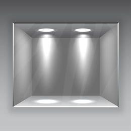 Galería interior con vidrio y luces