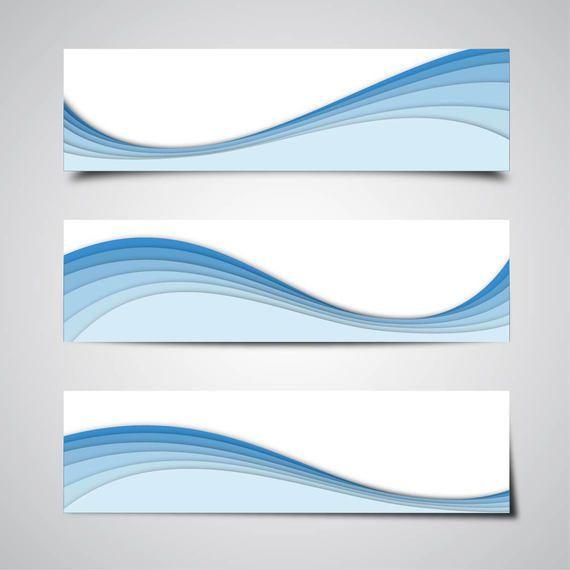 3 abstrakte Banner mit blauen Wellen