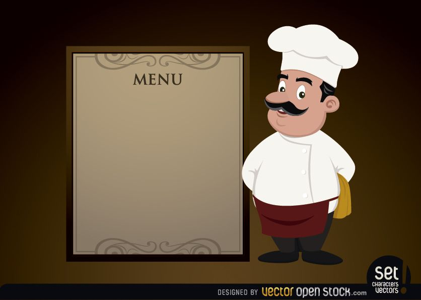 menu template with chef vector download