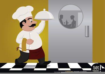 Chef sirviendo comida para pareja