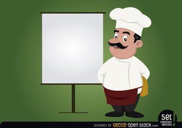 Cocinero con pantalla de presentación