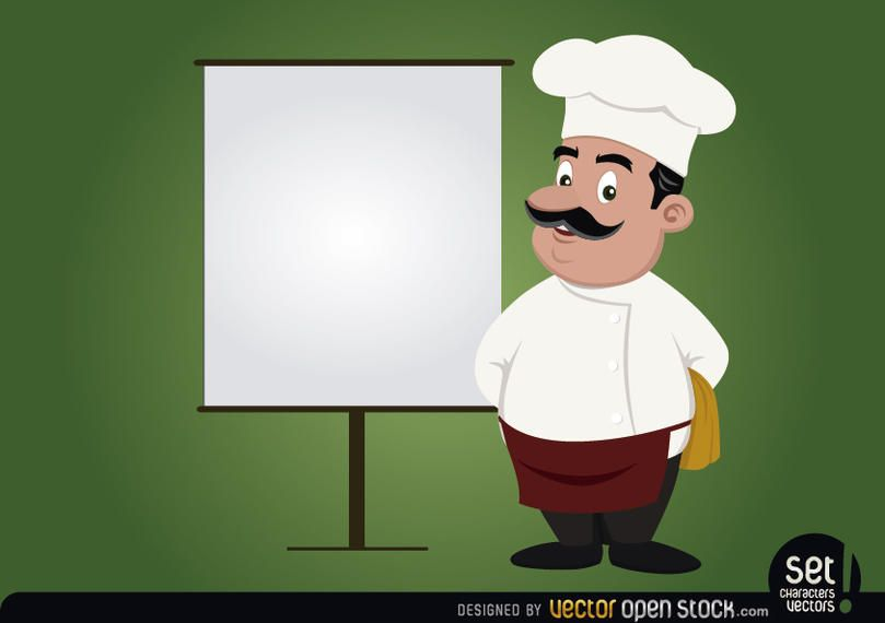 Chef con pantalla en blanco