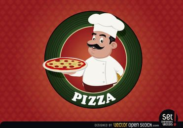 Selo de logotipo de pizza com chef