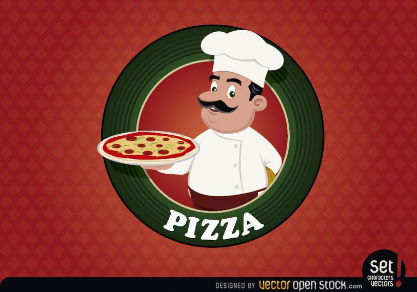 Selo de logotipo de pizza com chef
