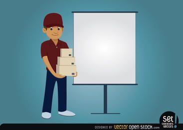 Personagem de entrega com tela de apresentação