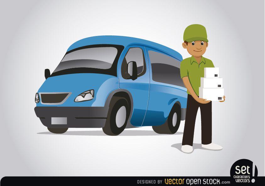 Personagem de entrega com van azul