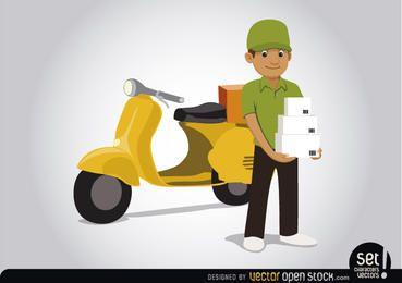 La entrega del hombre con la motocicleta
