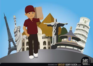 Hombre de salida con los monumentos del mundo