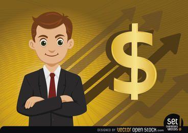 Dinheiro executivo crescendo flechas