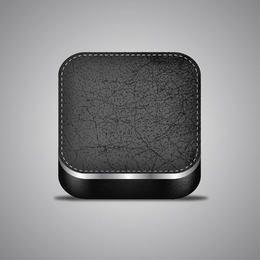 Elegante icono de aplicación de cuero realista en 3D