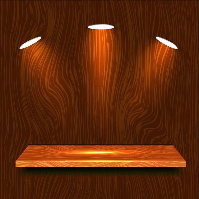 Estante de madera realista con luces