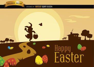 Escena de Pascua con la silueta del paisaje