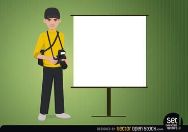 Fotógrafo com uma tela de apresentação
