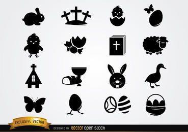 Lindo pacote de ícones de Páscoa silhueta