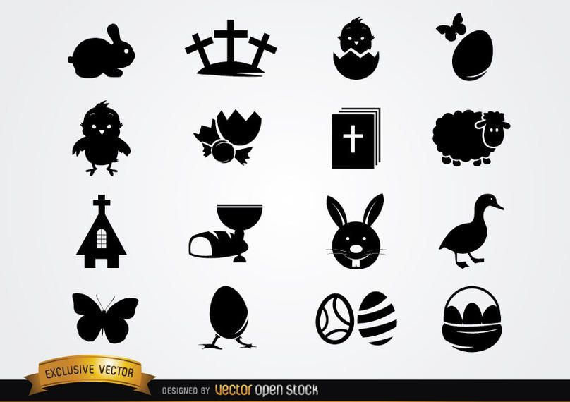 Linda silueta de paquete de iconos de Pascua