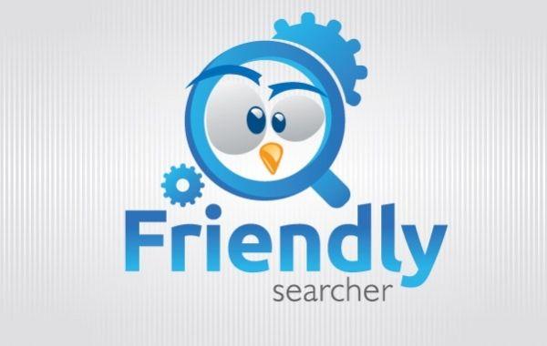 Funny bird Magnifying glass Logo