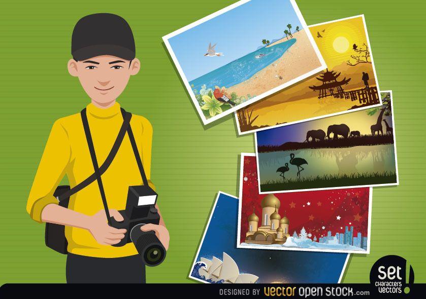 Concepto de fotógrafo de viajes