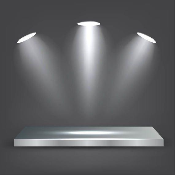 Estante de metal realista con luces