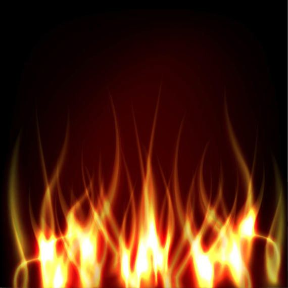 Realistic Fire on Darkish Background