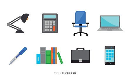 Flat Office Elements Vector Collection