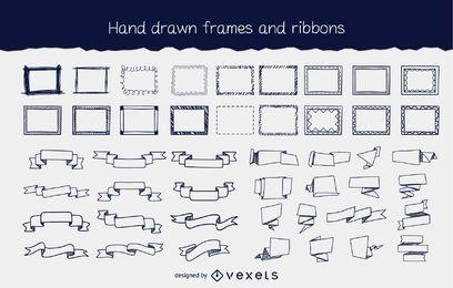 Hand gezeichneter fließender Rahmen u. Band-Satz