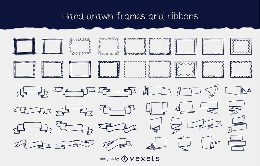 Hand Drawn Flowing Frame & Ribbon Pack