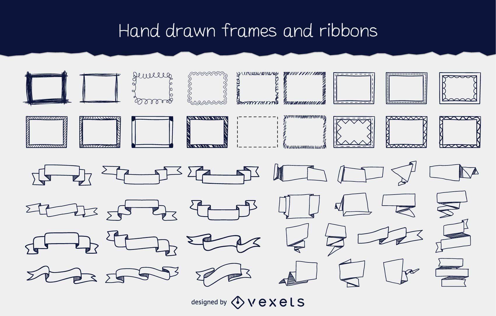 Hand gezeichnete fließende Rahmen & Band Pack