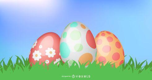 3 huevos de pascua sobre pasto verde