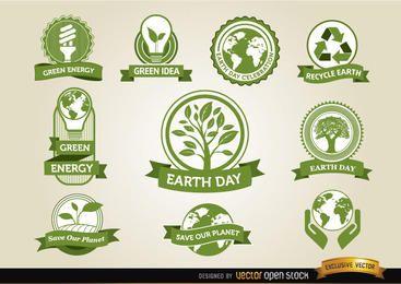 Etiquetas do Dia da Terra