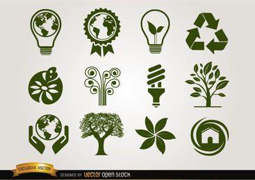 Ícones ecológicos verde