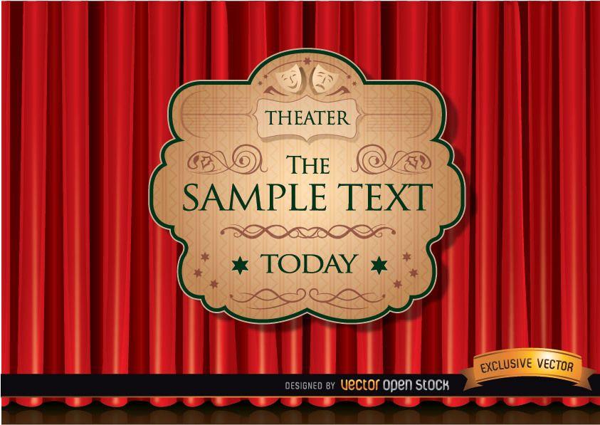 Anúncio de teatro com cortina vermelha
