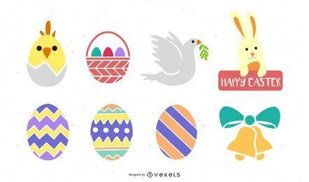 Conjunto de ícones coloridos de decoração de Páscoa