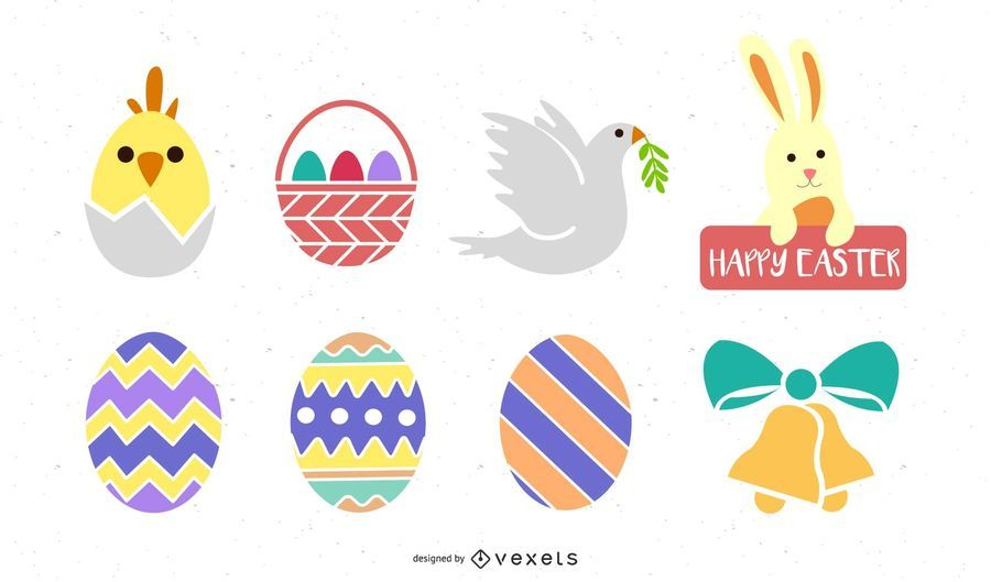 Colorful Easter Decoration Icon Set