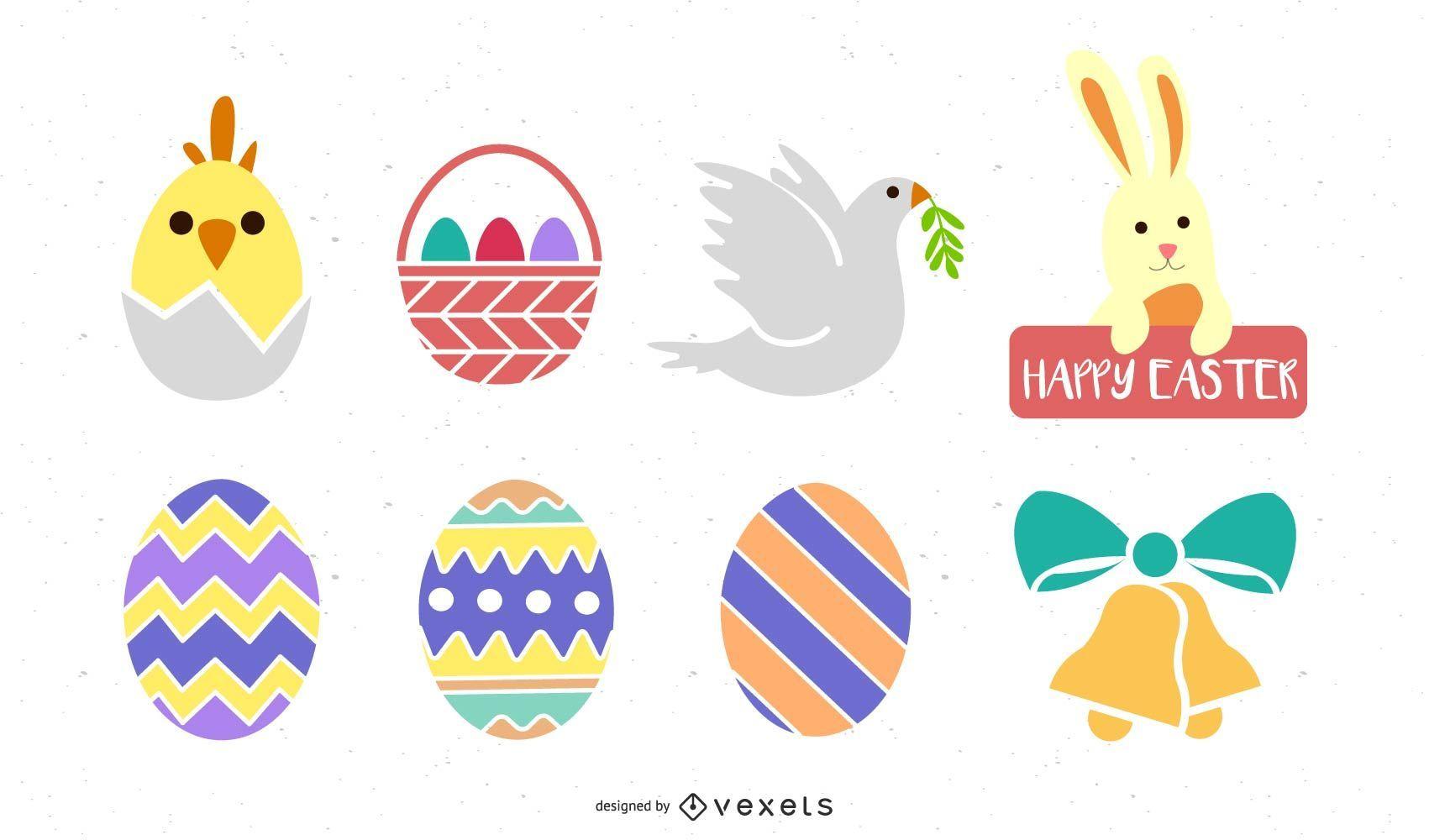 Colorido conjunto de iconos de decoración de Pascua