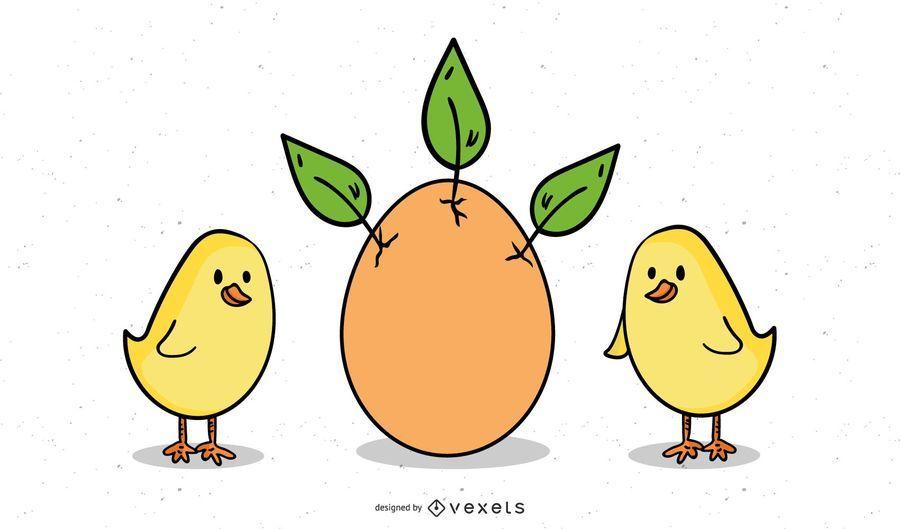 Huevo De Pascua Con Hojas Y Pollitos