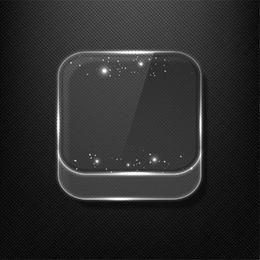 Icono de la aplicación de vidrio brillante fluorescente