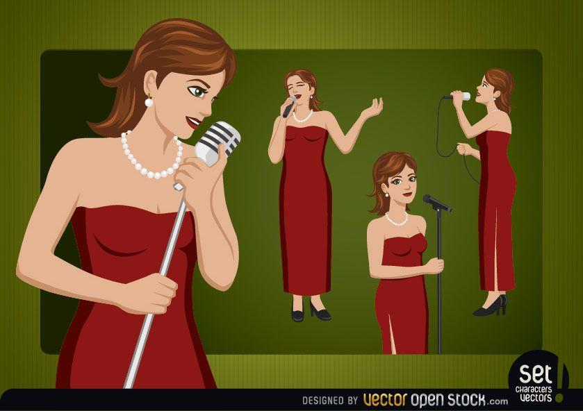 Personaje de dibujos animados de cantante femenina
