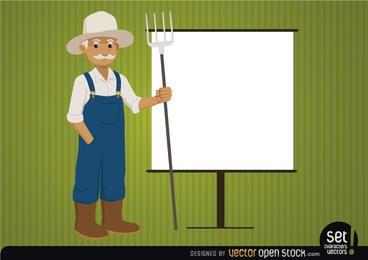 Agricultor com tela de apresentação