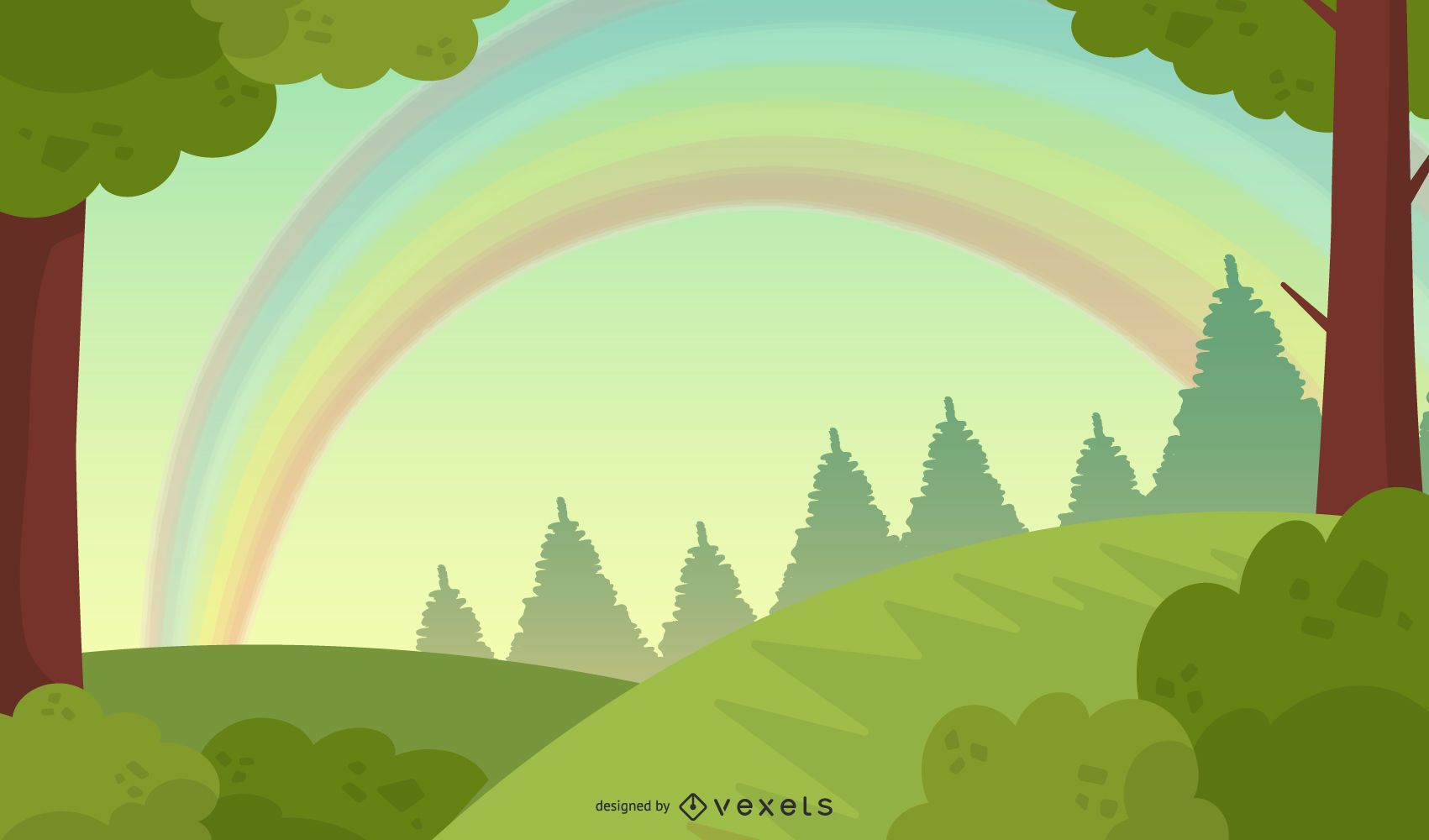 Paisaje verde puro con arco iris