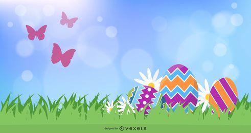 Banner Natural fresco com ovos de Páscoa