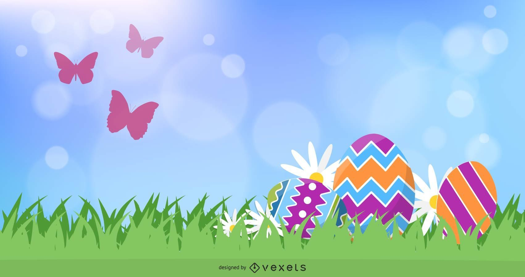 Fresh Natural Banner with Easter Eggs