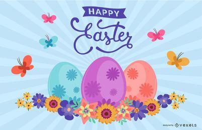 Impressionante cartão de Páscoa com borboletas e ovos
