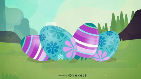 Fundo de Páscoa brilhante com ovos e flores